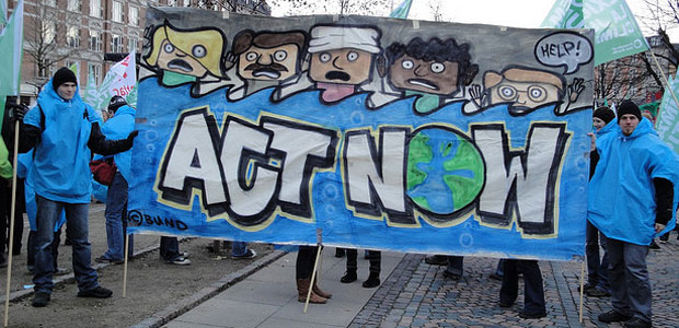 Protestors march during UN Climate Talks in Copenhagen.