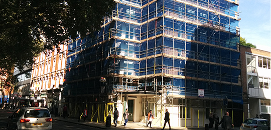 Work takes place on IIED's Gray's Inn Road building in summer 2015 (Photo: Matt Wright/IIED)