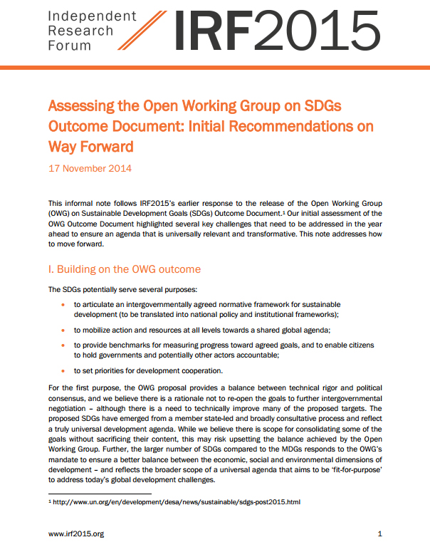 Assessing the Open Working Group on SDGs Outcome Document: Initial Recommendations on Way Forward