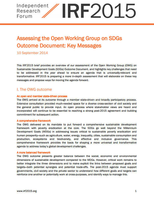 Assessing the Open Working Group on SDGs Outcome Document: Key Messages