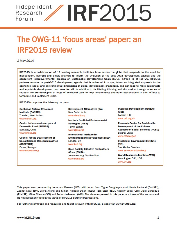 The OWG-11 'focus areas' paper: an IRF2015 review