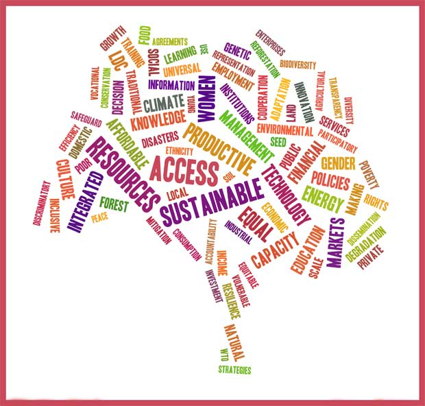 Everything is connected: Targets looked at as part of the forest module approach to the Sustainable Development Goals (tagxedo.com/copyright 2014)