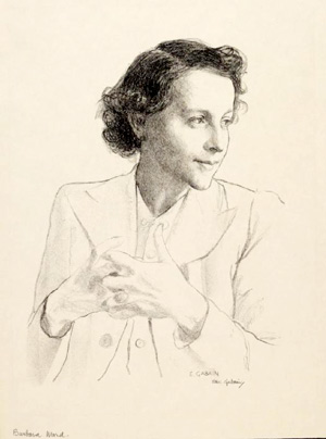 Barbara Ward in her 20s, pencil sketch