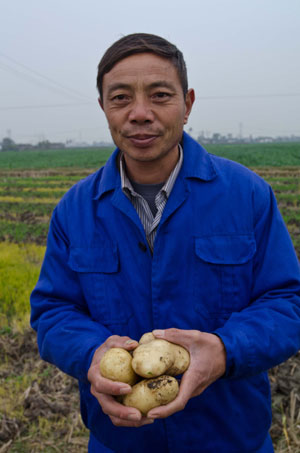 A Chinese farmer holding some of the potatoes he has grown using the new agricultural technique. Photo: Simon Lim