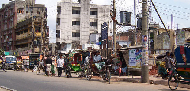 Rickshaws on the streets of Dhaka, Bangladesh's capital city.