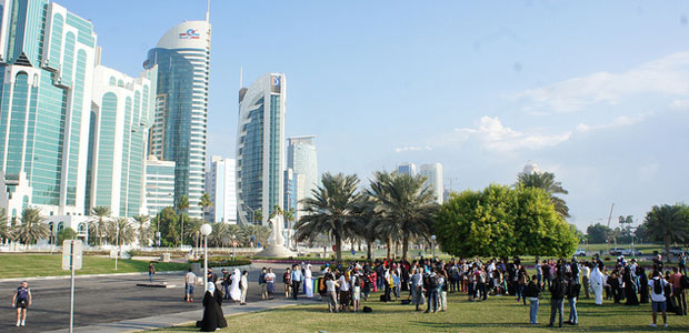 Climate protestors in Doha. Photo: adopt a negotiator