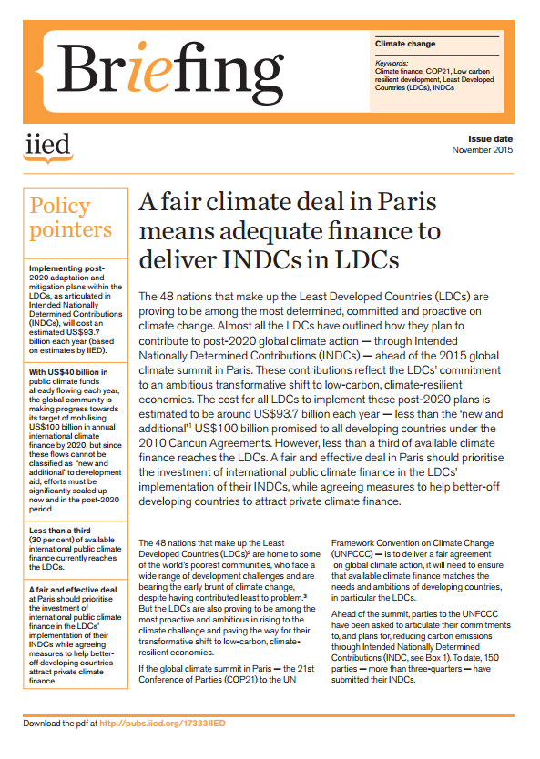 The cost of all 48 LDCs implementing their post-2020 climate action plans is estimated to be around US$93 billion a year, says an IIED paper