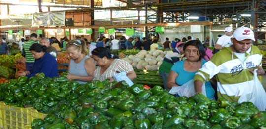 Farmers sell green peppers at a market in Barquisimeto, Venezuela.