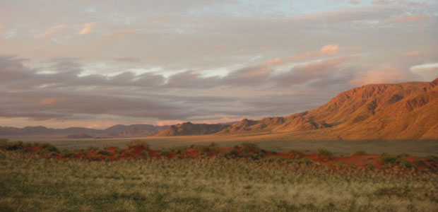 Image of Namibian drylands with a stone hill rising in the background.