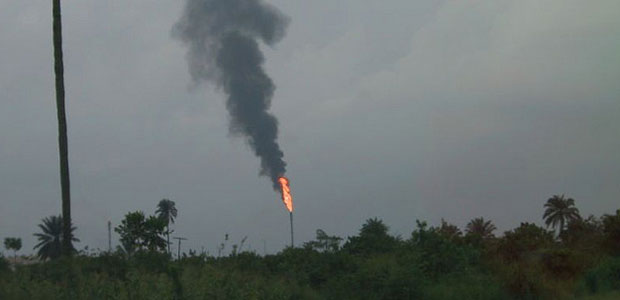 An oil flare in Port Harcourt Nigeria.