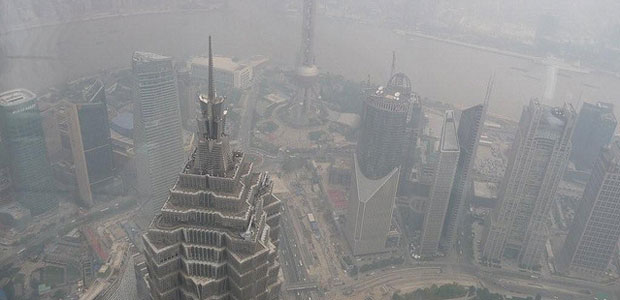 View from the Shanghai World Financial centre's observation platform – the air pollution is visible.