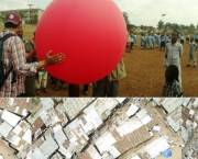 Top: Sohel Ahmed and colleague prepare to release the balloon; bottom: Some of the photographs taken from the air (Photos: Sohel Ahmed)