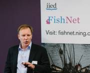 Althelia Ecosphere's Simon Dent speaking at Fish Night 2 (Photo: Inta Photography)