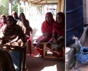 Left: Women and schoolgirls discuss the benefits of harvesting rainwater (Credit: ISET). Right: A girl collects water from the rainwater storage tank (Credit: Fawad Khan)