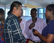 A Chinese journalist interviews fellow journalists in Kenya (Photo: YiDe Media)