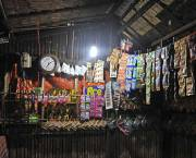 A solar lamp lights up a shop.