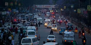 Traffic in Kathmandu, Nepal. Sixty per cent of air pollution in Kathmandu is caused by traffic: tackling pollution while growing their economies is a key challenge for Least Developed Countries (Photo: Rachel, Creative Commons, via Flickr)