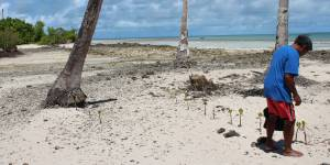 The Pacific island nation of Kiribati consists of 33 atols and reef islands. Here, adaptation includes coastal protection measures such as mangrove re-planting, as well as strengthening laws to reduce soil erosion and population settlement planning (Photo: AusAID)