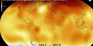 An image of the world showing global surface temperatures: April 2016 was the hottest April on record, the seventh month in a row to break temperature records. You can watch a video progression of changing global temperatures below (Image: NASA)