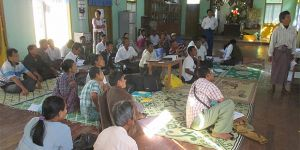 An audience gathers to listen to a presentation as information on land is shared by Open Data Myanmar (Photo: Open Data Myanmar)