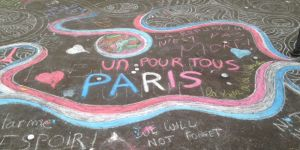 People use the pavement on Boulevard Richard Lenoir, close to the Bataclan concert venue which was the focus of the Paris attacks on 13 November, 2015, to share messages of support, and hope (Photo: Gael_Lombart, Creative Commons, via Flickr)