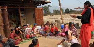Women discuss forest management at a Community Forest User Group meeting in Nepal. Photo: WOCAN