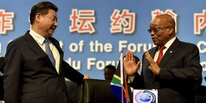 South Africa President Jacob Zuma speaks to China counterpart Xi Jinping at the FOCAC summit in Sandton, Johannesburg in 2015. China is increasingly influential in Africa (Photo: GCIS/GovernmentZA, Creative Commons, via Flickr)