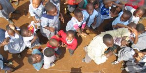 Air balloon photograph of children while mapping Mathare informal settlement, Nairobi.