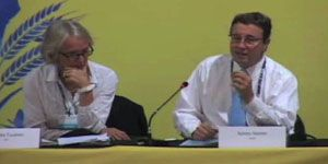 Camilla Toulmin of IIED and Achim Steiner of UNEP address the conference
