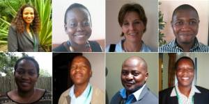 Members of the NBSAPs 2.0 Africa leaders' group. From left to right: Kauna Schroder, Marie-May Jeremie, Juliane Zeidler, Samson Mulonga, Dineo D Gaborekwe, Baboloki Autlwetse, Felix Monggae, Chipanqura Chirara.