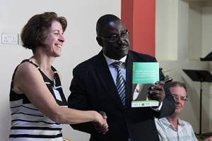 IIED principal researcher Dilys Roe launches a new report into the drivers and impacts of wildlife crime in Uganda (Photo: Julia Baker)