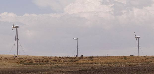 A wind farm outside Adigrat, northern Ethiopia, is an example of low-carbon renewable technologies can initiate a process of transformational change within developing countries