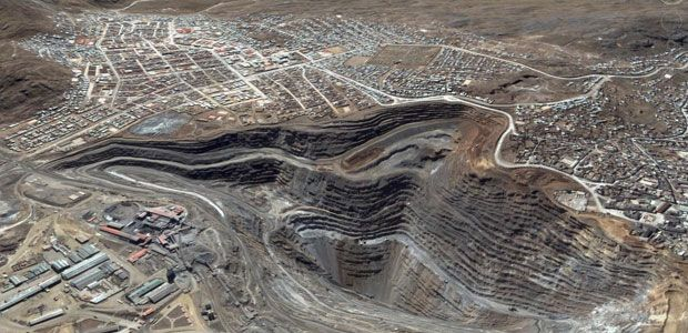 Satellite image of the zinc, lead and silver mine in Cerro de Pasco, Peru.