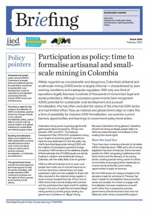 Participation as policy: time to formalise artisanal and small-scale mining in Colombia
