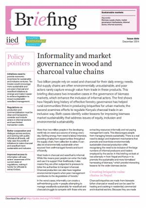 Informality and market governance in wood and charcoal value chains