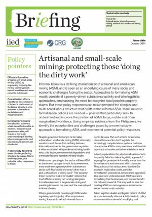Artisanal and small-scale mining: protecting those 'doing the dirty work'