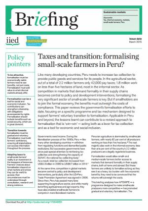 Taxes and transition: formalising small-scale farmers in Peru?