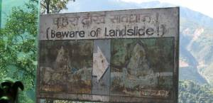 A sign near Kathmandu, Nepal, warns of the dangers of landslides (Photo: Doug Letterman, via Creative Commons)