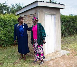 A demonstration latrine made of ecologically constructed bricks in Nyanza, a province in Southwest Kenya (Photo: Robin Wyatt)