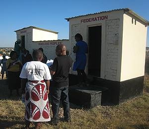 Some of the many innovative ecosan toilets set up by the Zimbabwe Homeless People's Federation (Photo: Diana Mitlin/IIED)