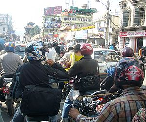A traffic jam in Kathmandu, Nepal. Sixty per cent of air pollution in Kathmandu is caused by traffic (Photo: Rachel, Creative Commons, via Flickr)