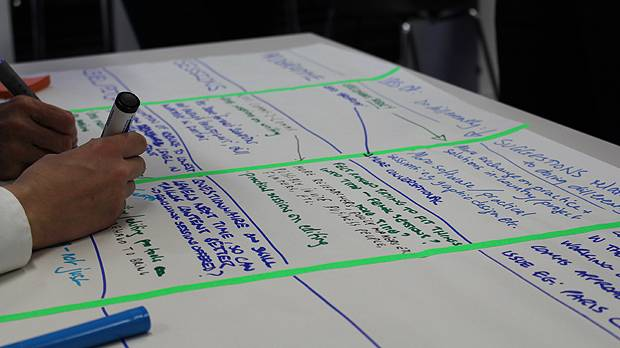 Participants in IIED's 2015 Communications Learning Week provide feedback on their experiences (Photo: Matt Wright/IIED)