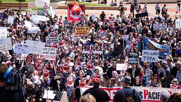 A rally protesting against the Trans-Pacific Partnership Agreement (TPPA) takes place in Wellington, New Zealand (Photo: Neil Ballantyne, Creative Commons, via Flickr)