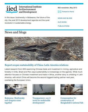 IIED newsletter sample screenshot