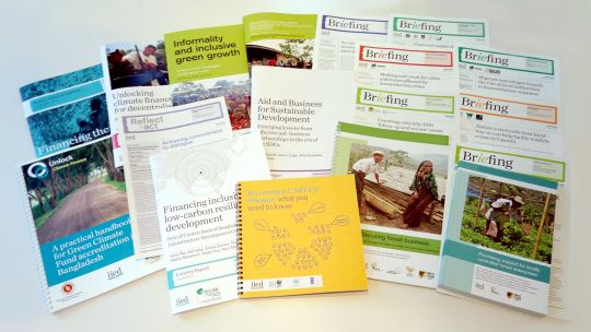 Some of the publications published by IIED during 2016 (Image: Annette McGill/IIED)