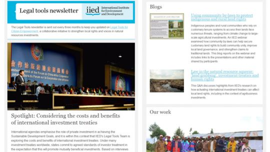 The January 2017 edition of the Legal Tools newsletter (Image: IIED)