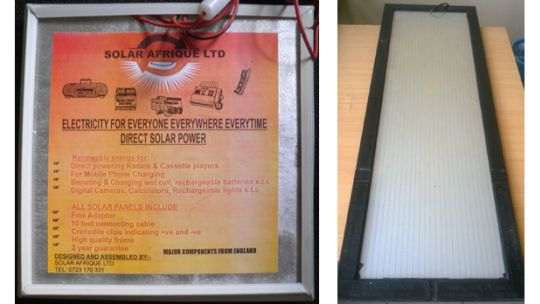 Two images of the back of solar panels in Tanzania. But can you tell which one is genuine? A better quality label does not necessarily mean greater authenticity (Photo: Godwin Msigwa/Tanzanian Renewable Energy Association (TAREA))