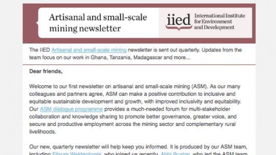 The new ASM newsletter (Image: IIED)