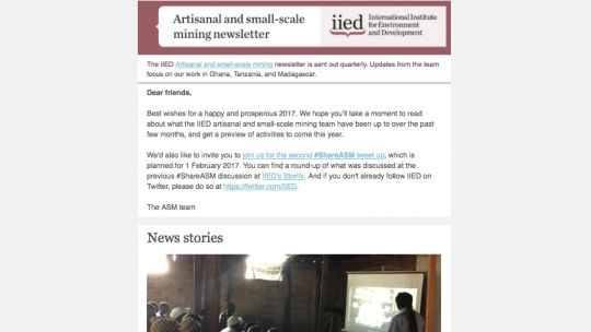 The new ASM newsletter, which is published quarterly (Image: IIED)