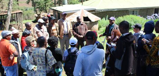 Maasai elders overseeing a woodlot project educate CBA9 participants on issues related to community-based adaptation (Photo: Matt Wright/IIED)